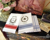 French Country Tea Towel Set for Dollhouse, 1:12 scale