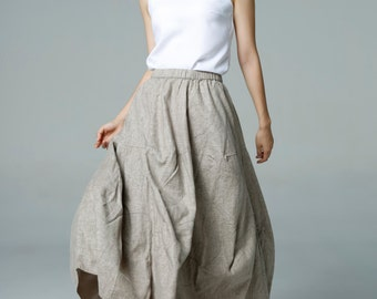 On Sale Size S Lagenlook Khaki Side Pockets Elastic-waisted Casual Long Maxi Bud Skirt-A005-1