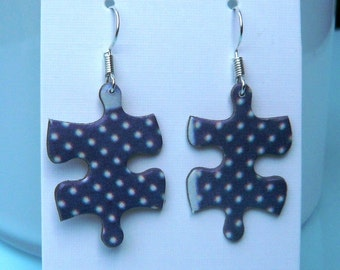 Jigsaw earrings - blue and white polkadot - sterling silver - puzzle earrings