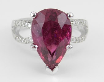 6.30 carats Diamond and Pear Pink Tourmaline Engagement Ring 18K White Gold Size 5