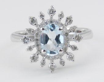 Diamond and Aquamarine Halo Engagement Ring 14K White Gold Size 7 March Birthday
