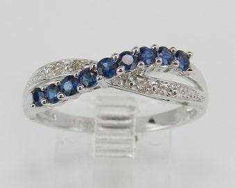 Diamond and Blue Sapphire Wedding Ring Anniversary Band 14K White Gold Size 7.25
