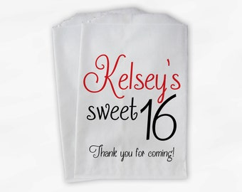 Sweet 16 Birthday Personalized Candy Buffet Bags - Red and Black Thank You Custom Favor Bags - 25 Paper Treat Bags (0081)