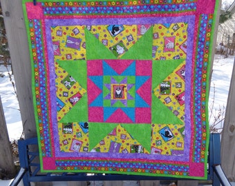 Starring Cats! Catlovers Quilt, Kitty Lap Quilt, 0113-03