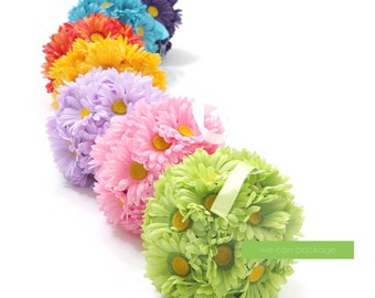 SALE! Daisy Flower Ball, Hanging Kissing Balls, Wedding Pomander Ball