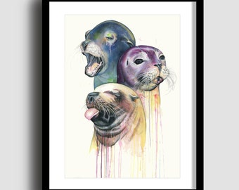 SEALS limited edition print A2 print watercolour painting watercolor giclee print fine art print figurative art original art seal print