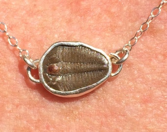Brown Trilobite Silver Open Bezel Necklace