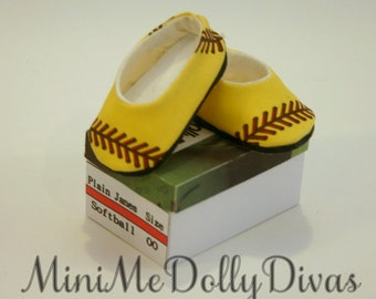 Softball  flats shoes made to fit your 18 inch american girl or similar doll, shoe box included