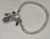Bracelet - Silverite Gemstone - Beaded - Fine Silver Charm - Amethyst Pendant - Gypsy Boho - Artisan Sundance Style Jewelry