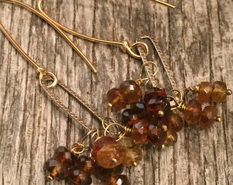 Mixed Metal Gemstone Earrings - Hand Crafted 14k gf and sterling - Gold Tourmaline - Rustic Wire Wrapped