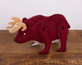 Bear With Antlers Etsy