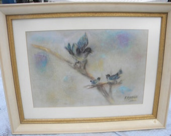 nice vintage 1960s PASTEL BIRDS DRAWING painting by easton pa artist florence martin