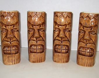 Set of four 8 inches height Tiki Glasses