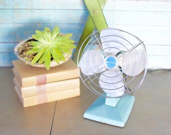 Vintage Electric Fan Turquoise Eskimo Brand Industrial Mod