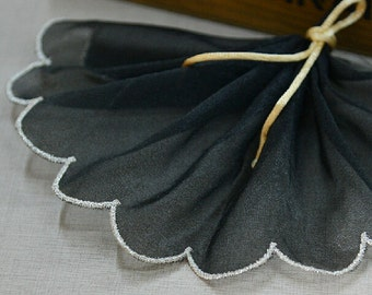 "10 yard 10cm 3.93"" wide black scalloped mesh tulle gauze fabric embroidered tapes lace trim ribbon vho6 free ship"