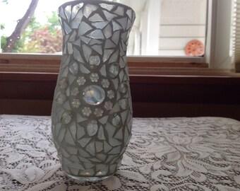 White mosaic vase