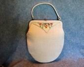 White Linen Handbag with Tapestry Trim 1960's