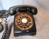 Black Western Electric Mid Century Rotary Dial Telephone