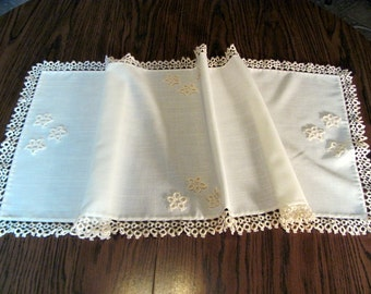 Linen Fire Place Mantle Runner with Tatted Trim  64 x 16 1/2 inch / Hand Made Linen Mantle Runner