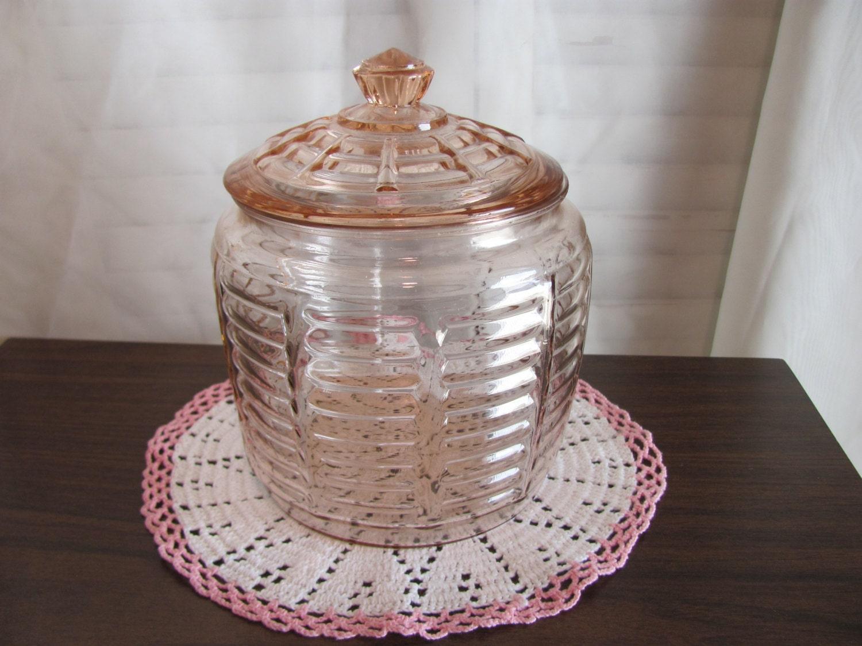 Cookie jar biscuit jar pink depression glass beehive pattern - Beehive cookie jar ...