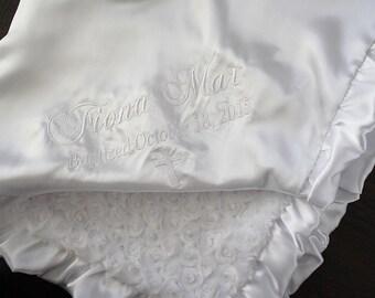 Baby blessing Blanket, Personalized blessing blanket, baptism blanket, silky baptism, silky blessing, christening blanket, white blanket