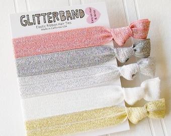 Peach Sparkle Set of 5, ponytail holder, elastics, glitter hair tie, party favor, elastic bracelet, hair tie
