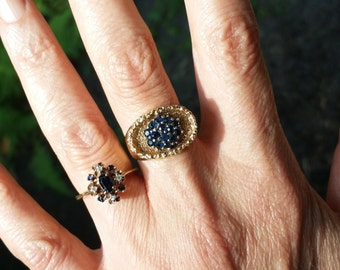 Mid Century Modern Sapphire Cluster Ring in 18k Gold Size 6
