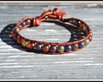 Leather Wrap Bracelet, Czech Glass Leather Wrap, Druk Bead Leather Wrap, Bronze Heart Button Leather Bracelet, Single Leather Wrap