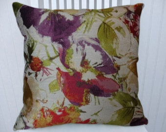 Green Purple Red Floral Throw Pillow Cover 18x18 or 20x20 or 22x22 Decorative Throw Pillow Cover- Accent Pillow