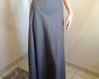 70s Grey Pinstripe Maxi Skirt