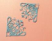 "Handmade, Flourish, Corners, Blue, Cardstock, 3 1/4"", 3 1/2"", Cards, Scrapbook, Handmade, Sizzix"