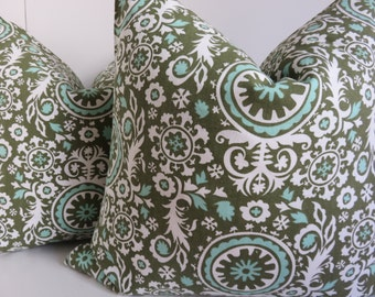 Pair Pillows -Set Of Two Pillow Covers - Olive green Pillow cover- Set pillow covers - Aqua Pillow -Green white pillow - Pillow Cover