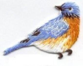 bird blue iron on patch