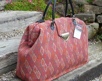Carpet Bag, Weekender Bag, Overnight Bag, Mary Poppins Bag, Tapestry Fabric Bag, Diamond Pattern fabric bag