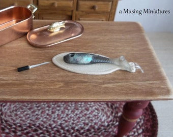 Miniature Fish Filet Board in 1:12 Scale for Dollhouse Kitchen or Market Stall