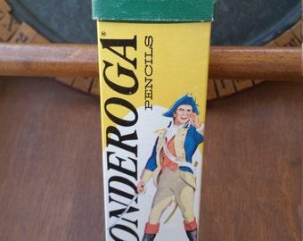 Ticonderoga Pencils by Dixon in Original Cardboard Packaging with Ethan Allen on cover