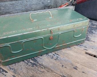 Vintage Tool Box in Green Metal Toolbox