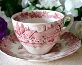 Vintage English Transferware Ironstone Red and White Cup and Saucer Romantic England J&GMeakin Chic