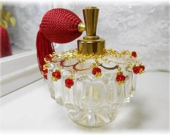 Vintage Irice Pedestal Jewel Collar Atomizer Perfume Bottle