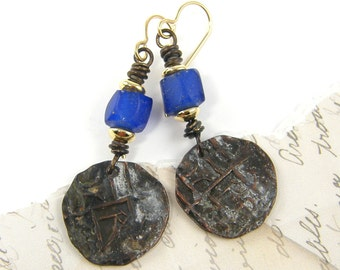 Coin Dangle Earrings, Cobalt Blue Bead Earrings, Tribal Dangle Earrings, Rustic Patina Wire Wrapped Earrings |EC1-1