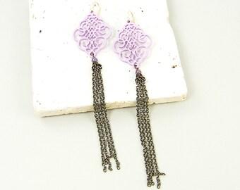Purple Earrings Tassel Chain Long Lavender Ornate Filigree  Dangle Earrings