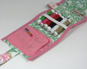 Sewing kit travel size floral pink mint green pastels