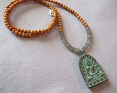 Sale! Buddha in lotus temple amulet mala necklace with aromatic sandalwood beads and labradorite 19""