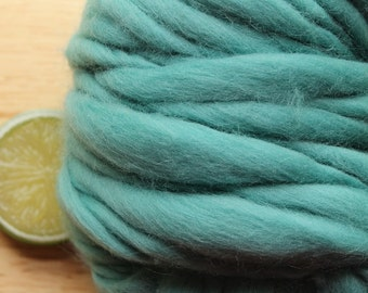 Jade - Handspun Wool Yarn Merino Sea Glass Thick and Thin Skein