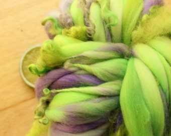 Garden Curls - Thick and Thin Handspun Merino Wool Yarn Green Lavender