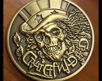 Grateful Dead Antique Gold Metal Medallion Lapel Pin - Limited Numbered Edition / 250 Made!