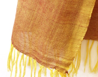 Red and yellow hand-woven cotton scarf from Ethiopia