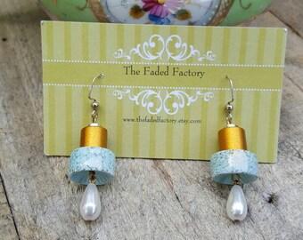 Pearl drop earrings gold silver blue