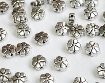 20 Flower spacer beads floral antique silver 8mm PLF5031Y