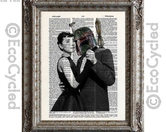 Audrey Hepburn Dancing with Boba Fett on Vintage Upcycled Dictionary Art Print Book Art Print Repurposed Recycled Star Wars bookworm gift